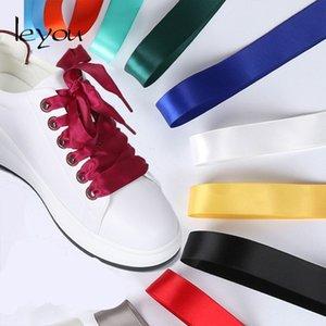 Leyou 80-160cm Flat Silk Shoe Laces Colorful Satin Silk Ribbon Shoelaces Sneaker Shoe Strings 2cm Wide Shoelaces