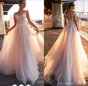 2020 New Beach Country Lace Appliques A Line Wedding Dresses Sheer Scoop Neck Tulle Covered Button Tulle Long Bridal Wedding Gowns