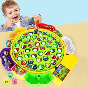 Kids Fishing Toy Musical Rotating Fishing Game 360 Degree Rotate Fish Children Educational Toys Parent-child Interactive Games
