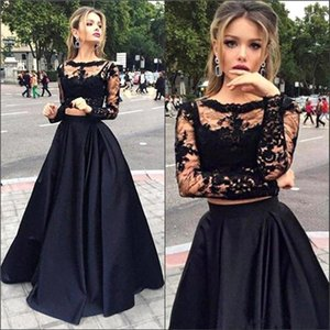 2016 New Black Two Pieces Evening Dresses Sheer Long Sleeves Lace Top Satin A line Floor Length Prom Dresses