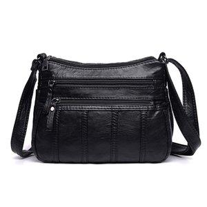 Annmouler Moda Mujer Bolso Crossbody Negro Suave Lavado Bolso de Hombro Patchwork Messenger Bag Pequeño Flap para Niñas