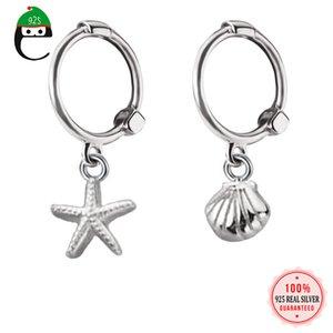 Trustdavis Genuine Shells Moda 925 Sterling Silver doce Asymmetric Starfish Hoop brincos para DA509 Jóias Mulheres casamento
