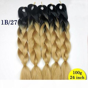 L 2pcs Ombre Color 24 &Quot ;100g Jumbo Braids Synthetic Hair Jumbo Hair Extension Afro Hair Products Two Tone High Temperature Braidin