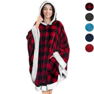 Ins Lazy Blanket Cloak Mens Womens Designer Plaid Hoodie Wearable Warm Fleece Blankets Robe With Hooded Cape GGA3003-4