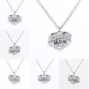 Cadeau d'anniversaire de mère I Love Mom Coeur pendentif maman soeur mimi collier bijoux de mode cadeau du jour de mère