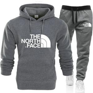 Kuzey Erkek Ter Suits Yüz Jogger Eşofman Ceket + Pantolon Suit Hip Hop Siyah Gri kadınları eşofman Tenis sporu Kapüşonlular + Pantolon ayarlar