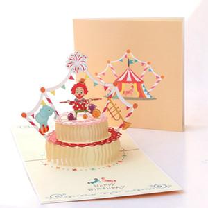Клоун торт Creative 3D Поздравительные открытки ручной работы Личностные Card Hollow бумага для подарков Simple Message Blessing Birthday Cards
