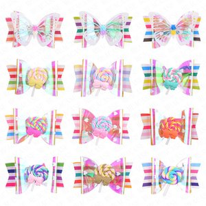 2020 Neue Regenbogen-Lutscher Nette Kinder Hairpin Hair Clips Zubehör für Mädchen Kinder-Haarschmuck Haarspangen Haarspange Kopfschmuck D62802