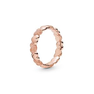 18K розовое золото покрыло Матовый Brilliance сердца кольцо диапазона первоначально коробка для Пандора 925 стерлингового серебра женщин Обручальные кольца Комплекты подарка