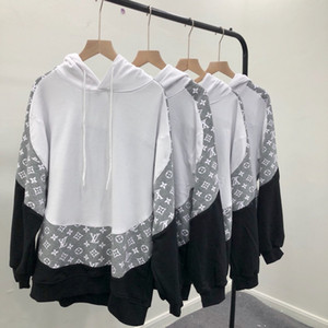 19ss Франция Италия новая горячая мода суд стиль сращивания большие буквы печати пуловер хлопок мужчины женщины Мужские толстовки роскошные кофты
