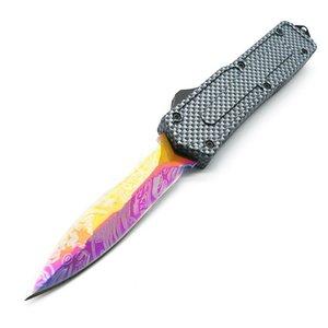 escarabajo patrón de fibra de carbono negro mango 5 modelos de hoja de doble acción cuchillos plegables tácticos de Navidad del regalo del cuchillo Adfac C159