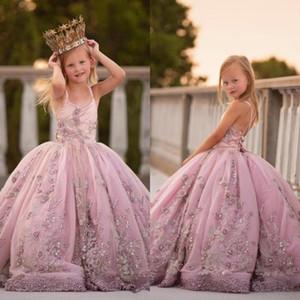 Кружевные 3D аппликациями Pearls девушки цветка платья бальное платье Спагетти девушки свадьба платье Причастие Pageant платья Детская одежда