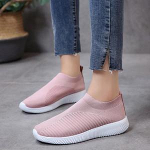 Mulheres baratos Casual Sneaker Light Gray Triplo Preto malha Deslizamento-em Moda Womens Outdoor Cloth Shoes Tamanho 36-39