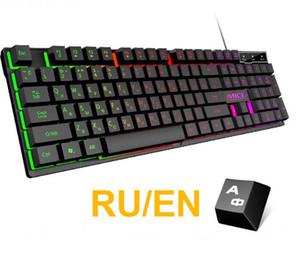 Wired Gaming Keyboard sentimento Mecânica retroiluminado teclados USB 104 teclas russo teclado à prova d'água do jogo de computador Teclados