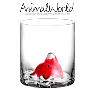 Animal crystal glass lovely fox glass cartoon creative whisky cup three dimensional water glass wine cocktail cup