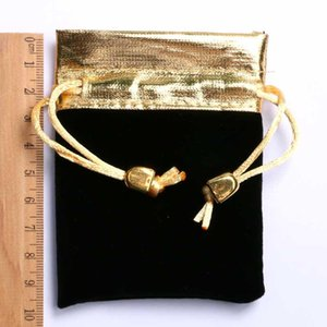 Hot Selling Elegant Black Watch Bag Gold Rope Velvet Cloth Best Gift for Decoration