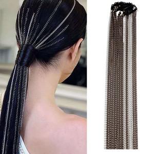 Encontrarme 2019 Cadena Nueva joyería del pelo del pelo Accesorios de Moda geométrica simple de aluminio Cadenas larga borla para mujeres al por mayor Headwear