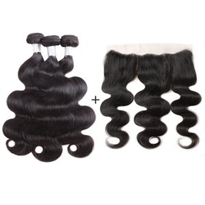 Nami волос бразильский объемная волна девственные пучки волос с 13x4 кружева Fronta закрытие 100% наращивание человеческих волос с закрытием естественный цвет