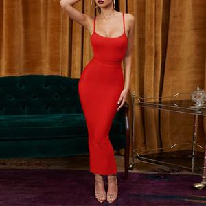 Ocstrade Новое Прибытие Женщин Красное Платье Повязки 2019 Летняя Мода Ребристый Bodycon Длинное Макси Платье Повязки Платья