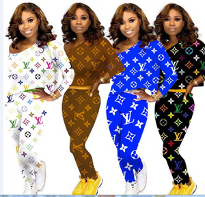 women tracksuits pullover sport Suits printed letter hoodies and pants Jogger Suits 2pcs outfits Sets tracksuits