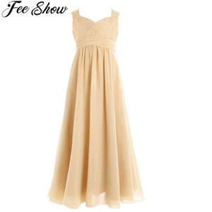 4-14Years old Kid Girls Flower Chiffon Lace Dress for Party and Wedding Bridesmaid One-shoulder Dress Prom Formal Maxi