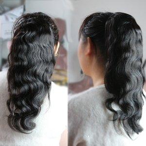 Cola de caballo con clip humano para mujer Clip de onda de cuerpo negro natural en extensiones de cabello humano Cabello remy mongol trama doble
