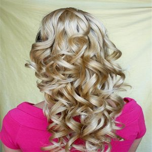 Xt034 Long Corrugated Spiral Curls Blonde Big Deep Wave Wigs 22 Inch 100 %Heat High Fiber Natural Synthetic Capless Cap Open Weft Wig