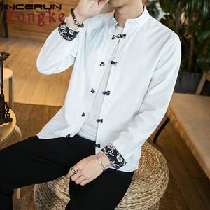 INCERUN Vintage-Mann-Hemd-Baumwolle Langarm Solide Stehkragen 2020 Street Camisa Chinese Traditional Beiläufiges Hemd der Männer
