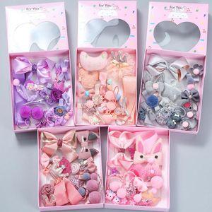 18pcs New Kids Children Accessories Hairpins Barrettes Baby Fabric Bow Flower Headwear Hair clips Girls Headdress W0017