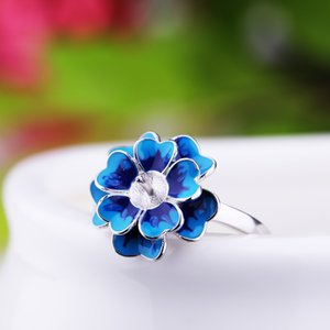 Plata de ley de 925 mujeres redondas del anillo de bodas de compromiso o 7-10mm perla joyería semi anillo de montaje del ajuste fino Cloisonne