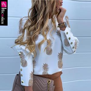 파인애플 인쇄 금속 놨는데 상세 캐주얼 블라우스 여성 O 목 긴 소매 세련된 캐주얼 우아한 봄 탑 셔츠 가을