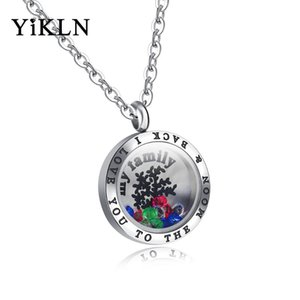 YiKLN Trendy Wish Bottle Pendant Necklaces For Men Women Openable Design My Family Letters & Tree Of Life Jewerly Gift YOGX1298