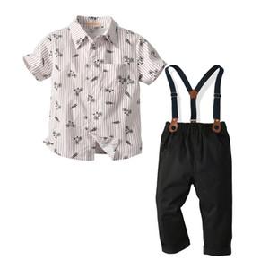 Preppy tarzı çocuk kıyafetler 2020 yaz yeni erkek bisiklet kravat şerit baskılı yaka kısa kollu gömlek + askı pantolon 2adet setleri J2034