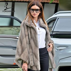 FURSARCAR Les vraies femmes Châle Pour 2019 Mode d'hiver de luxe en vrac vestes et manteaux avec la nature Ceinture Pelt Vison Cape pleine