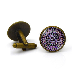 Vintage Zaman Mücevher Kol Düğmeleri Gül Pencere Notre Dame De Paris Kol Düğmeleri Fransız erkek Kol Düğmeleri Takı babalar Günü Hediye