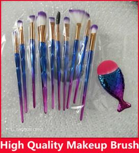 11pcs / set Diamond sirena de cepillos del maquillaje Set compone el cepillo del diamante 3D Espiral colorido de Bling cepillos Fundación Cream Blush Brush Kit de brillo