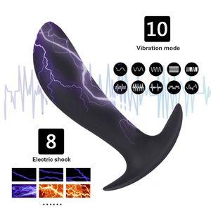 Горячая вибрационный Butt Plug Electric Shock Пенис Anal Plug Wireless Remote Вибратор Мужской секс игрушки Массажер простаты секс игрушки для взрослых