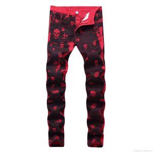 Los hombres pantalones casuales Red dril de algodón de la cremallera de los pantalones largos de los pantalones vaqueros Imprimir diseñador de moda de los hombres de los pantalones vaqueros de lavado de la motocicleta del motorista