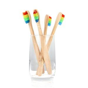 Fabrika fiyatı! 1000 adet / grup Renkli Kafa Bambu Diş Fırçası Çevre Ahşap Gökkuşağı Bambu Diş Fırçası Ağız Bakımı Yumuşak Kıl
