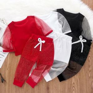 Crianças roupas de bebê malha Vestuário Define Meninas Gauze Patchwork Top Shorts Suits Summer Stage Costume Party Clothings Calças Roupa Set YP652