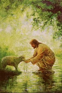 Yongsung Kim Sheep Drinking Water From Hands of Jesus Home Decor Handpainted &HD Print Oil Paintings On Canvas Wall Art Pictures 200703