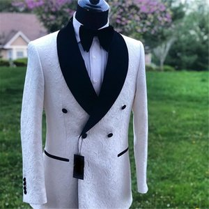 Double Breasted Groomsmen Shawl Black Lapel Groom Tuxedos Embossing Men Suits Wedding Prom Dinner Best Man Blazer ( Jacket+Pants+Tie) K400