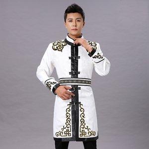 costume Tang Vêtement traditionnel ethnique mâle hommes haut veste orientale Mongolian blanc vie quotidienne vintage asie costume