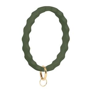 Bracelet en silicone Bracelet Keychain Key Saver Wave Rings Bandes de caoutchouc Silicone Keyring Loop Fob pour hommes femmes Wristlet Key Chain