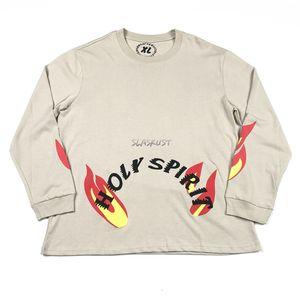 Descontraído Fit manga comprida T-shirt algodão pesado Vintage Lavados Tops T domingo impressos