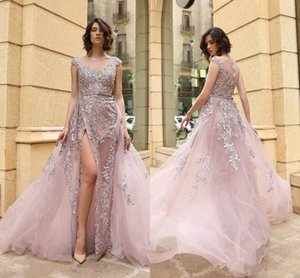 Sexy Front Split Sheath Formal Evening Dresses With Overskirt Train Sheer Neck Plus Size Light Pink Formal Prom Party Gowns Vestidos