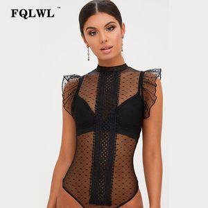 FQLWL Transparent Lace Bodysuit Sexy Top Body Femme Patchwork Bodycon Summer Jumpsuit Ruffle Sleeve Mesh Bodysuit Women Romper Y200701