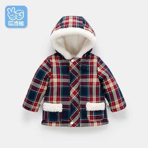 Dinstry bébé garçon veste à capuche et une fille nouvelle automne et l'hiver arrivel veste à carreaux bébé au chaud manteau coton rembourré CJ191217