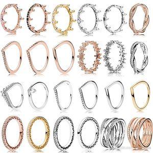 Весеннее кольцо стерлингового серебра 925 розовое золото Розовый Зачарованные Корона Кольца Оригинал Мода DIY Подвески ювелирные изделия для женщин Изготовление