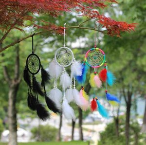 Wholesale Feather dream catcher white black rainbow fur children room decoration car hanging accessories kids gifts